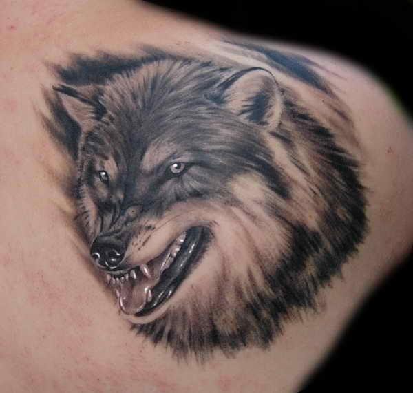 Тату с волком